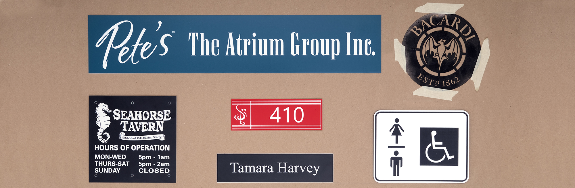 Name tags, name plates and sign samples