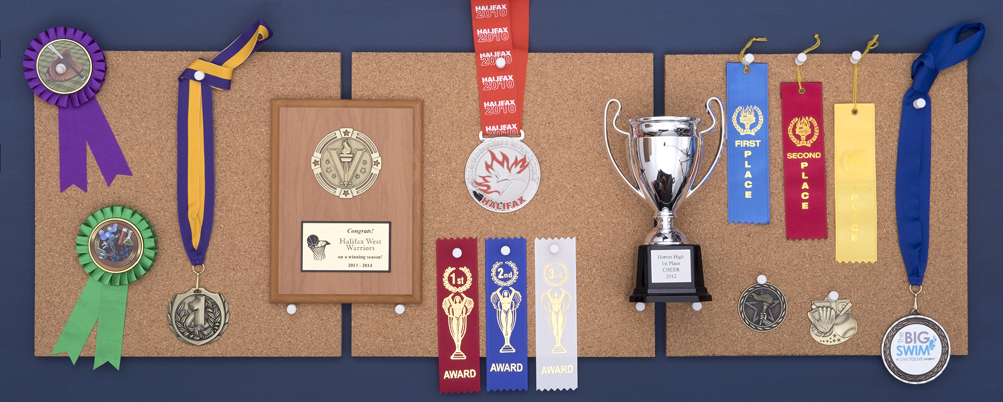 Ribbons and Plaques hanging on a corkboard