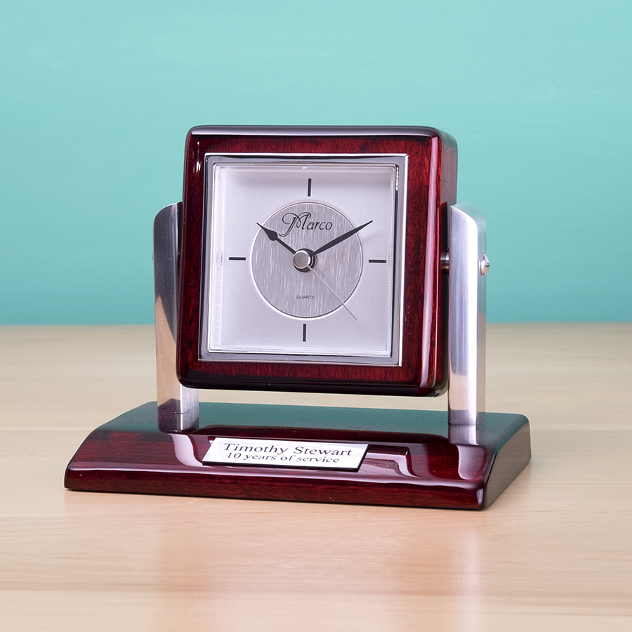 Gift Desk Clock with engraveable Plaque