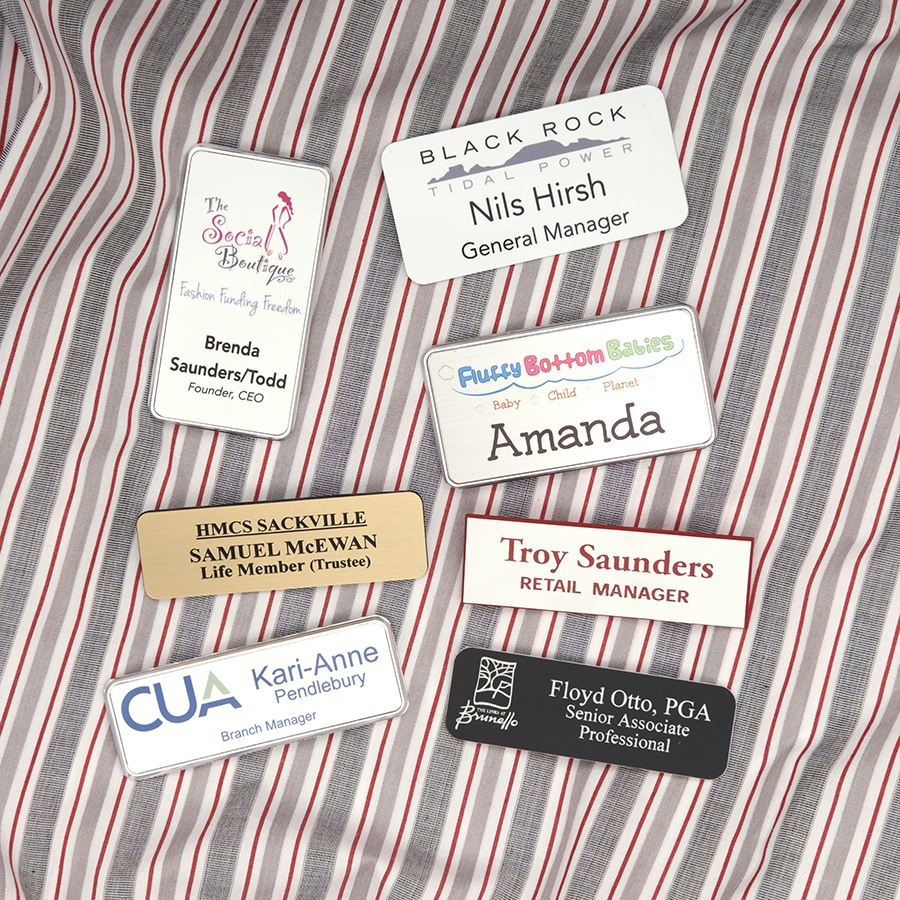 Shirt with multiple name tag samples