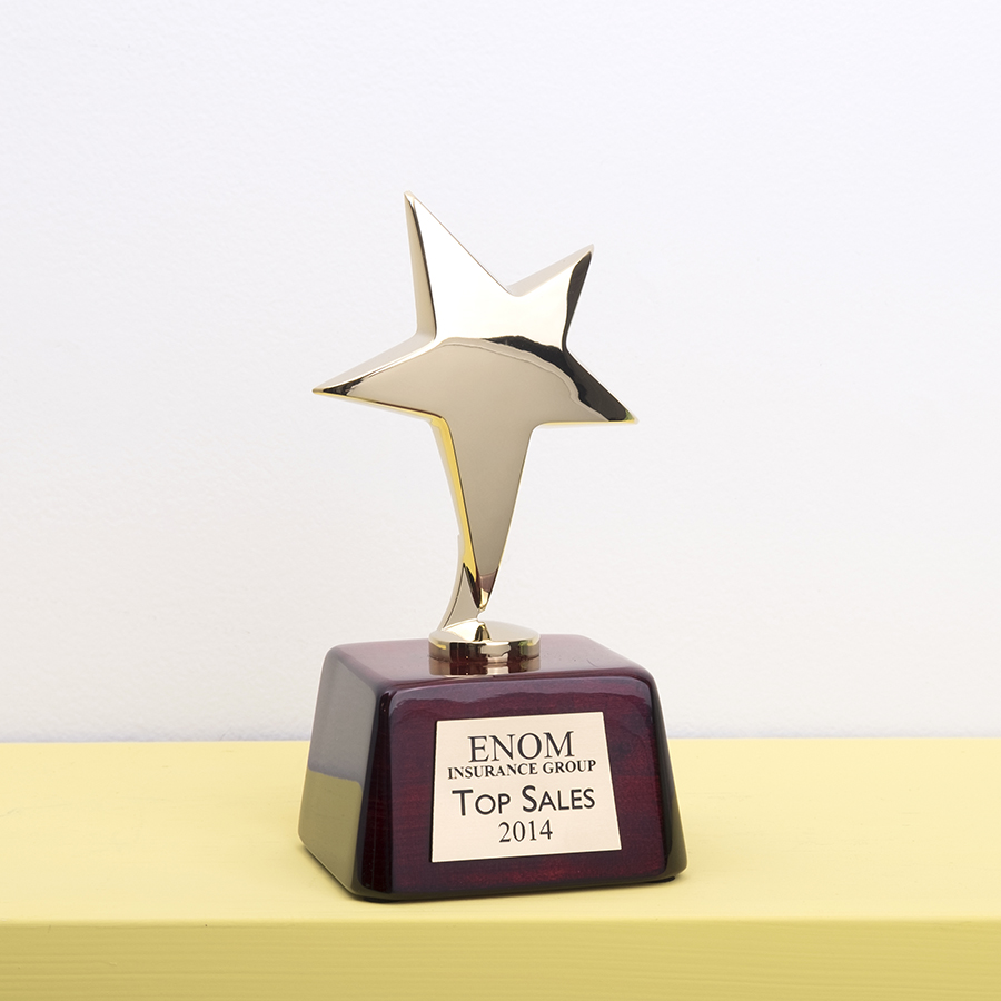 Star Shaped trophy with rosewood base